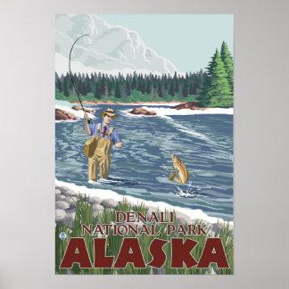 Fly Fisherman - Denali National Park, Alaska Print