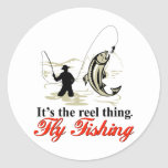 Fly fisherman fishing catching trout fly rod reel round stickers
