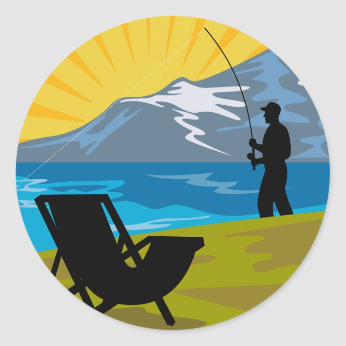 Fly fisherman fishing lake mountains chair classic round sticker