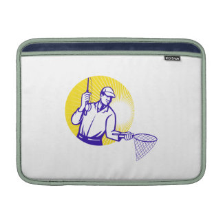 Fly Fisherman Fishing Net Retro Woodcut Sleeve For MacBook Air