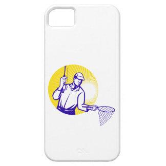 Fly Fisherman Fishing Net Retro Woodcut iPhone SE/5/5s Case