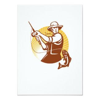 Fly Fisherman Fishing Retro Woodcut Card