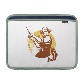 Fly Fisherman Fishing Retro Woodcut Sleeve For MacBook Air