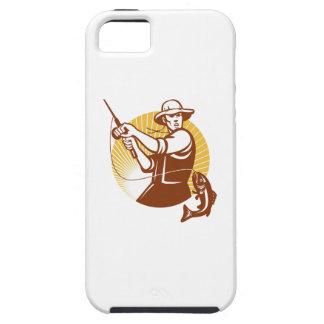 Fly Fisherman Fishing Retro Woodcut iPhone SE/5/5s Case