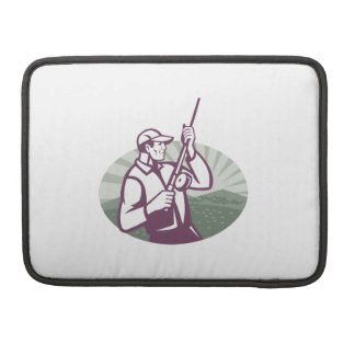 Fly Fisherman Fishing Retro Woodcut Sleeve For MacBook Pro
