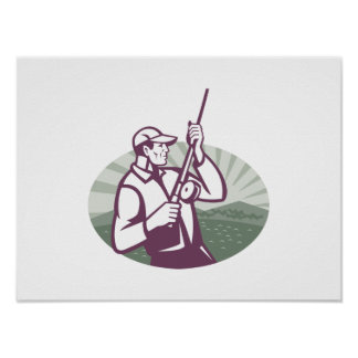 Fly Fisherman Fishing Retro Woodcut Posters