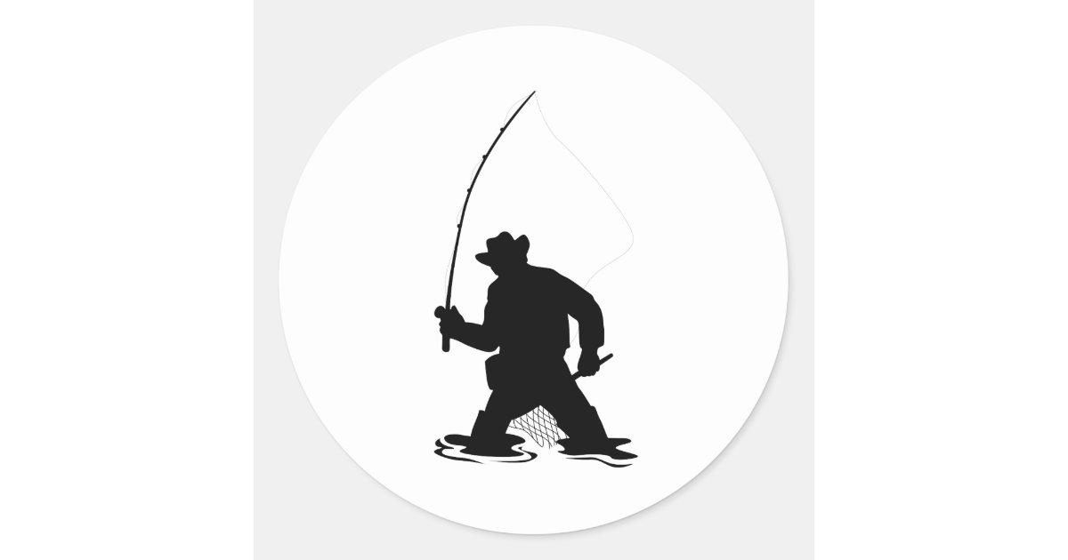 fly fisherman fishing silhouette classic round sticker   Zazzle