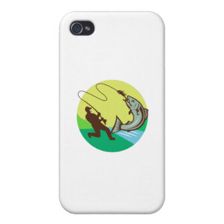 Fly Fisherman Hooking Salmon Circle Rero Case For iPhone 4
