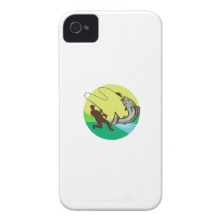 Fly Fisherman Hooking Salmon Circle Rero iPhone 4 Cover