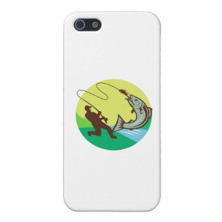 Fly Fisherman Hooking Salmon Circle Rero iPhone SE/5/5s Cover