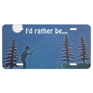 Fly Fisherman in snow! Personalize Text License Plate