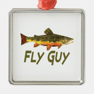 Fly Fisherman Metal Ornament