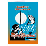 Fly Fisherman on boat catching largemouth bass Greeting Cards
