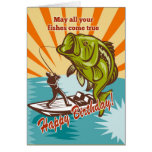 Fly Fisherman on boat catching largemouth bass Greeting Card