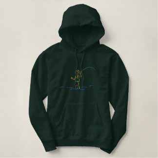 Fly-fisherman Outline Embroidered Hoodie