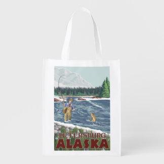 Fly Fisherman - Petersburg, Alaska Grocery Bag