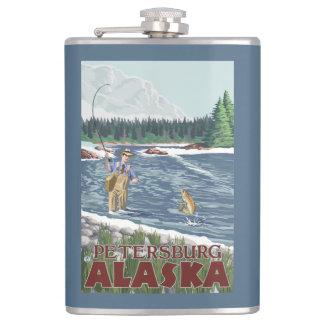 Fly Fisherman - Petersburg, Alaska Hip Flask