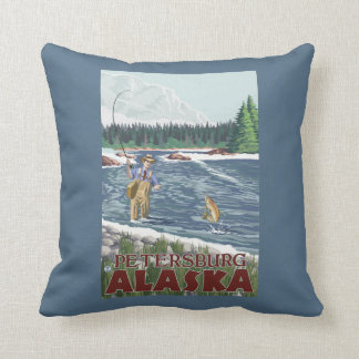 Fly Fisherman - Petersburg, Alaska Throw Pillow