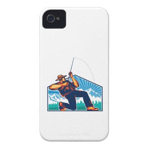 Fly Fisherman Reeling Fishing Rod Retro iPhone 4 Cover