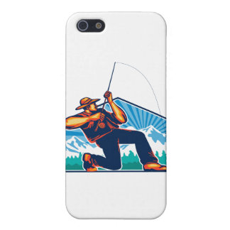 Fly Fisherman Reeling Fishing Rod Retro Case For The iPhone 5