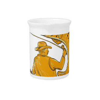 Fly Fisherman Reeling Trout Drawing Pitcher