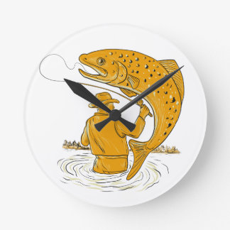 Fly Fisherman Reeling Trout Drawing Round Clock