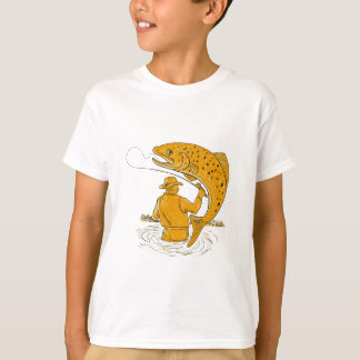 Fly Fisherman Reeling Trout Drawing T-Shirt