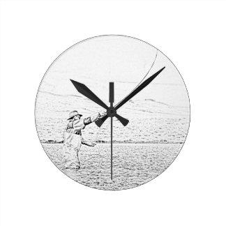 fly fisherman round wall clocks