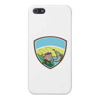 Fly Fisherman Salmon Mug Crest Retro Cover For iPhone SE/5/5s