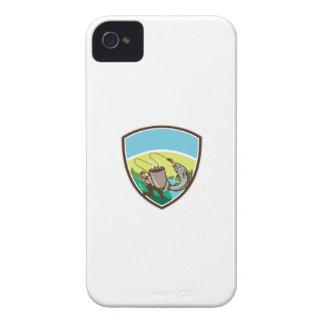 Fly Fisherman Salmon Mug Crest Retro iPhone 4 Case