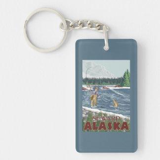 Fly Fisherman - Seward, Alaska Double-Sided Rectangular Acrylic Keychain