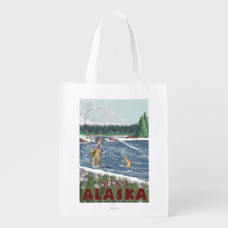 Fly Fisherman - Sitka, Alaska Grocery Bags