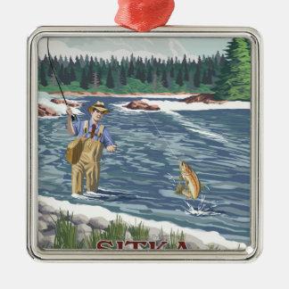 Fly Fisherman - Sitka, Alaska Metal Ornament