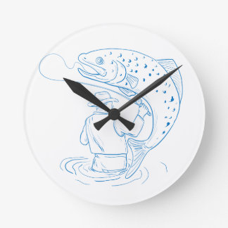 Fly Fisherman Trout Fishing Drawing Round Clock