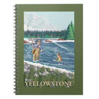 Fly Fisherman - West Yellowstone, Montana Spiral Notebook