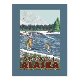 Fly Fisherman - Wrangell, Alaska Postcard