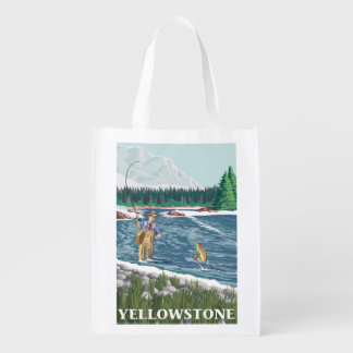 Fly Fisherman - Yellowstone National Park Reusable Grocery Bag