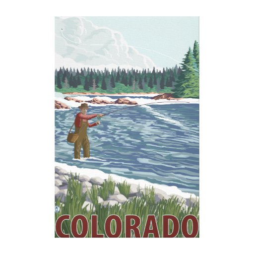 Fly FishermanColorado Stretched Canvas Print