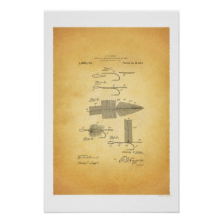 Fly Fishing 1911 US Patent Poster - C W Allen Print