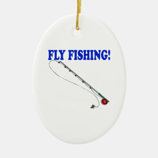Fly Fishing 2 Double-Sided Oval Ceramic Christmas Ornament