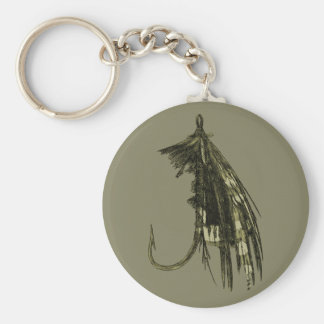 Fly Fishing Art Basic Round Button Keychain