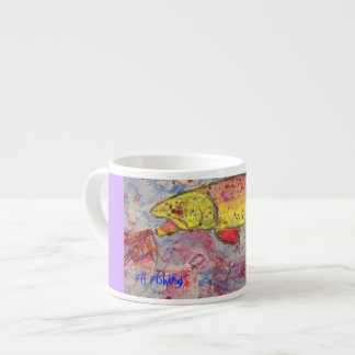 fly fishing art espresso cup