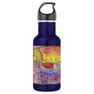 fly fishing art stainless steel water bottle