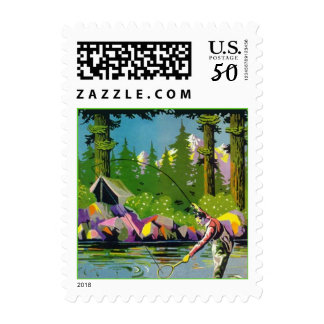 Fly-fishing Camp Vacation Gone Fishing Stamps