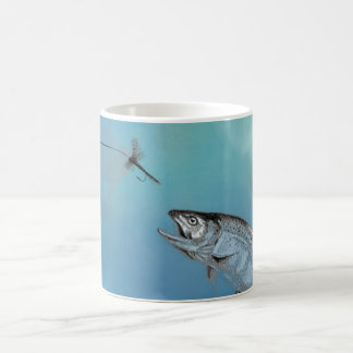 Fly Fishing catch on blue background Coffee Mug