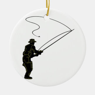 Fly Fishing Ceramic Ornament