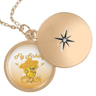 Fly Fishing Chick #10 Gold Plated Necklace