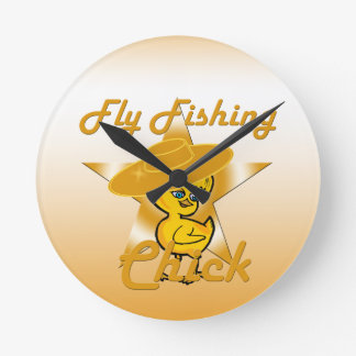Fly Fishing Chick #10 Round Clock