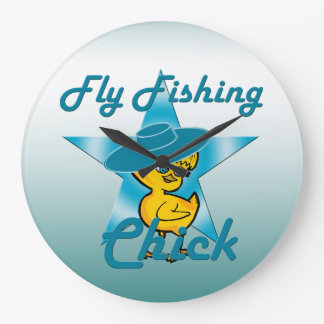 Fly Fishing Chick #7 Large Clock