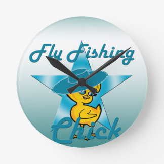 Fly Fishing Chick #7 Round Clock